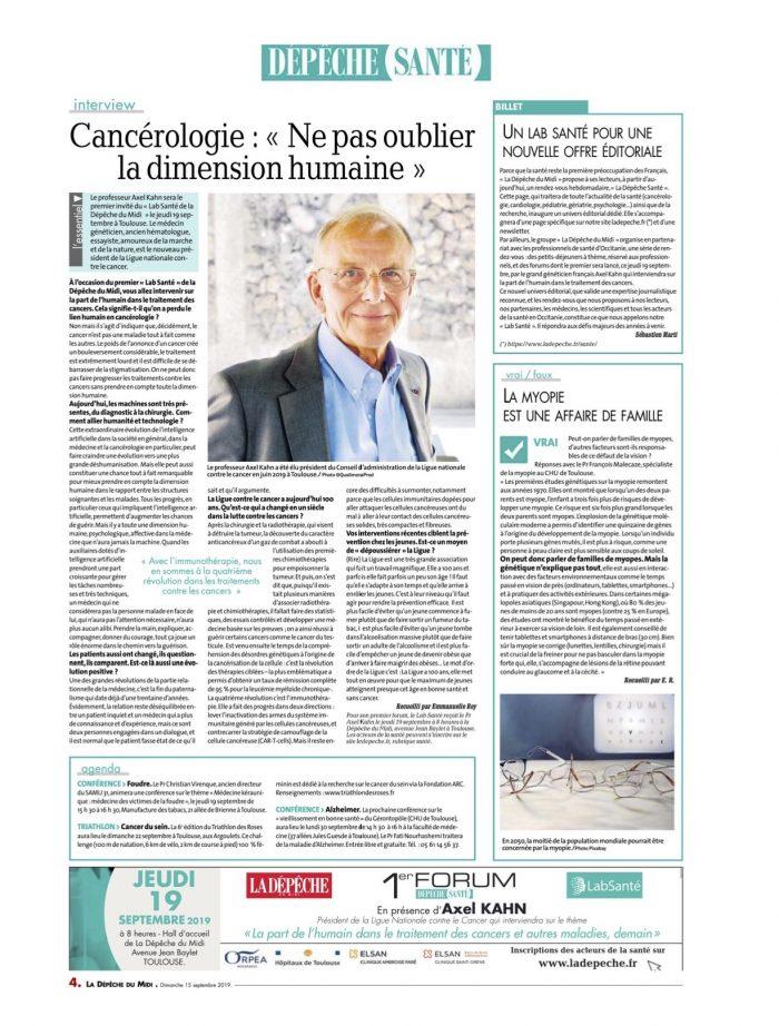page santé dimanche 15 septembre 2019 itw Axel Kahn +vrai faux myopie